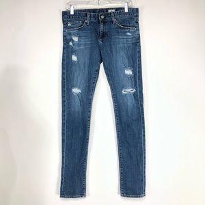 AG distressed skinny jeans. 27R